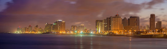 TEL AVIV, ISRAEL - MARCH 2, 2015: The panorama of Tel Aviv in the morning dusk Stock Photo