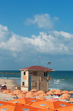 Tel Aviv, Israel, Middle East. A tower rescue on a beach in Tel Aviv on August 31, 2015. The entire west flank of Tel Aviv is one long shoreline lined with royalty free stock photography