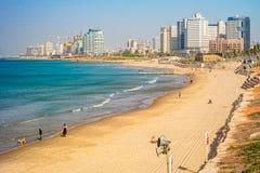 Tel Aviv beach and city, Israel. TEL AVIV ISRAEL November 2016: Tel Aviv beach coast with a view of Mediterranean sea and skyscrapers Stock Image