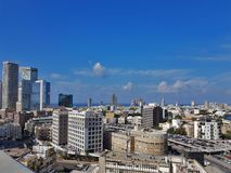 City view of Central part of Tel-Aviv - old buildings, skyscrapers ,parkings and Mediterranean Sea.Israel. TEL AVIV,ISRAEL- November 23,2017: Cityview of Central Stock Photo