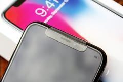 TEL AVIV, ISRAEL - 23. NOVEMBER 2017: Intelligentes Telefon Iphone X Spätester Handy Apples Iphone 10 Stockfotos