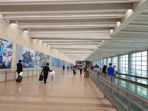 Passengers in Departure area at the Terminal 3 in the Ben Gurion Stock Photography