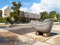 TEL AVIV, ISRAEL. A sculpture `Boat` against the background of public library Shaar Tsion Beit Ariyela stock images