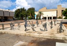 TEL AVIV, ISRAEL. Sculptures of people and birds against the background of museum of Fine Arts stock photos