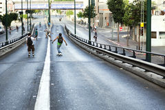 Skaters on a Bridge Royalty Free Stock Photos
