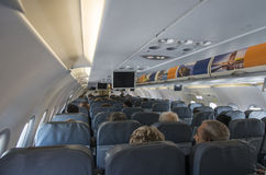 Tel Aviv, Israel-19 September, 2016 : The interior of the aircraft and passengers on seats in Ben-Gurion airport in Tel Aviv, Isra Stock Images