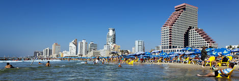 Tel Aviv Beach & Hotel Strip Panorama. Tel-Aviv, Israel - September 3rd, 2011: Panoramic view looking north at the Tel-Aviv shoreline and hotels strip on a clear Royalty Free Stock Images