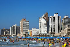 Tel Aviv Beach & Hotel Strip. Tel-Aviv, Israel - September 3rd, 2011: View looking north at the Tel-Aviv shoreline and hotels strip on a clear day; with its long Royalty Free Stock Images