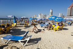 Tel Aviv Beach & Hotel Strip Royalty Free Stock Images