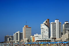 Tel Aviv Beach & Hotel Strip Stock Photography