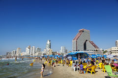Tel Aviv Beach & Hotel Strip. Tel-Aviv, Israel - September 3rd, 2011: View looking north at the Tel-Aviv shoreline and hotels strip on a clear day; with its long Stock Images