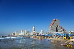 Tel Aviv Beach & Hotel Strip Royalty Free Stock Image