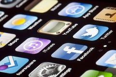 IPhone 4 - Macro di Apps Fotografia Stock Libera da Diritti