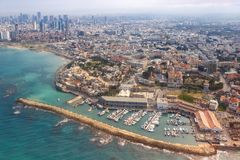 Tel Aviv Jaffa old city town port skyline Israel beach aerial view sea skyscrapers. Photo stock images