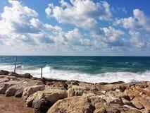 Tel Aviv, Jerusalem Beach. A daily hike across the Jerusalem coast Royalty Free Stock Photography