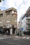 A street scene of a round corner building and fashion shop. Tel Aviv, Lev Halr, Tel Aviv - Yafo, Israel - December 28, 2018: Street scene of Old, round, corner royalty free stock photography