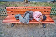 Tel-Aviv - 4 march, 2017: Homeless on a bench Stock Photo