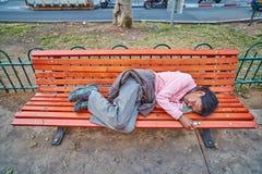 Tel-Aviv - 4 march, 2017: Homeless on a bench Stock Photos