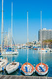 Tel Aviv Marina. Yachts and boats docked at the Tel Aviv Marina in downtown Tel Aviv, Israel, with the Hilton Hotel visible in the background Royalty Free Stock Photography