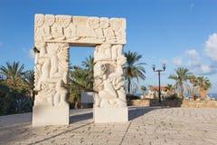 "Tel Aviv - The modern contemporary sculpture Statue of Faith"" in Gan HaPisga Summit Garden with the biblical scenes Stock Image"