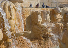Tel Aviv - The modern Zodiac Fountain on Kedumim Square with the statues of astrological signs. By Varda Ghivoly and Ilan Gelber in 2011 royalty free stock photos