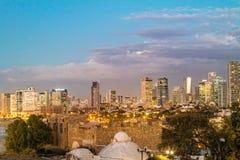Tel Aviv Nachtmening van Jaffa Stock Fotografie