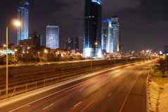 Tel Aviv by night. View of Ayalon highway in Tel Aviv, Israel royalty free stock photography