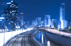 Tel Aviv at Night Stock Images