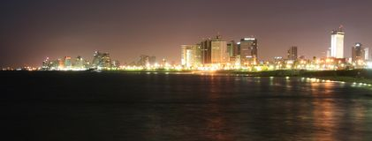 Tel Aviv by night. Tel Aviv panorama by night Royalty Free Stock Image
