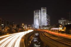 The Tel Aviv night city. Azrieli center,  Business centre , Ayalon freeway Royalty Free Stock Images