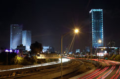 Tel Aviv at night, Israel. A view of Tel Aviv and the ayalon highway at night, Israel stock image