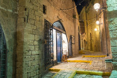 Tel Aviv at night. Stone old city Jaffa in Tel Aviv at night royalty free stock photography