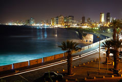 Tel Aviv. Night view from Jaffa Stock Photo