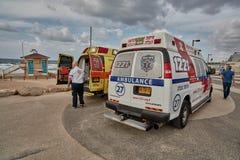 Tel-Aviv, 20 November, 2016: Israeli ambulances parking at the c Royalty Free Stock Image