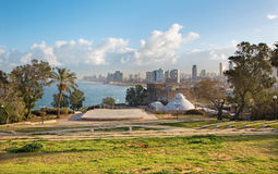 Tel Aviv - The outlook to waterfront and city from Gan HaPisga Summit Garden in old Jaffa, Royalty Free Stock Image