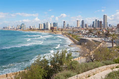 Tel Aviv - The outlook to waterfront and town from old Jaffa Stock Photography