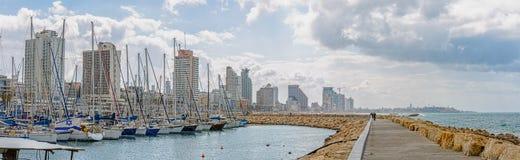 Tel Aviv, Panorama des Jachthafens stockfotografie
