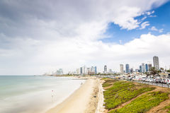 Tel Aviv Panorama with sandy beaches, Israel Royalty Free Stock Image