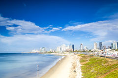 Tel Aviv Panorama with sandy beaches, Israel Royalty Free Stock Photos