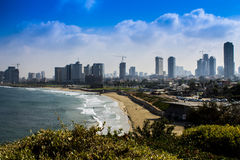 Tel-Aviv panorama. Sky and clouds under Old Jaffa in Tel Aviv, Israel Stock Photo