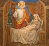 Tel Aviv - peinture moderne de la scène Tabitha augmenté par St Peter d'église de St Peters dans vieux Jaffa photo libre de droits