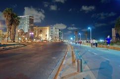 Tel. Aviv Promenade bij nacht Royalty-vrije Stock Foto's