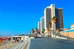 Tel Aviv Promenade, Israel. TEL AVIV, ISRAEL - SEPTEMBER 1, 2015: View of Tel Aviv beach promenade with modern hotels in Tel Aviv, Israel Royalty Free Stock Photo