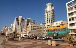 Tel Aviv Promenade, Israel. TEL AVIV, ISRAEL - SEPTEMBER 1, 2015: View of Tel Aviv beach promenade with modern hotels and buildings in Tel Aviv, Israel Stock Photos