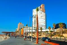 Tel Aviv Promenade, Israel. TEL AVIV, ISRAEL - SEPTEMBER 1, 2015: View of Tel Aviv beach promenade with modern hotels and buildings in Tel Aviv, Israel Stock Photography
