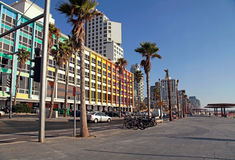 Tel Aviv Promenade, Israel. TEL AVIV, ISRAEL - SEPTEMBER 1, 2015: View of Tel Aviv beach promenade with modern hotels and colorful buildings in Tel Aviv, Israel Stock Image