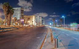 Tel Aviv Promenade at night Royalty Free Stock Photography