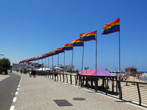 Tel Aviv rainbow flags. Tel Aviv Pride (Hebrew: גאווה תל אביבית) is an annual, week-long series of events in Tel royalty free stock images