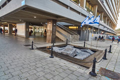 Tel Aviv - 10 02 2017: Sławny Yitzhak Rabin kwadrat, dnia czas Obraz Stock