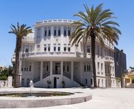 Original Old Tel Aviv City Hall Building. Tel Aviv`s first city hall building on Bialik Street now a history museum against a clear blue sky royalty free stock photography
